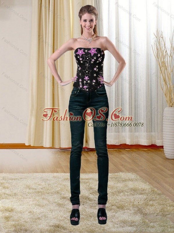 The Super Hot Multi Color Strapless 2015 Corset with Appliques