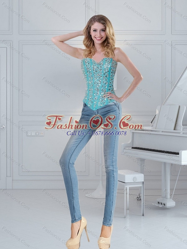 Turquoise Sweetheart Beading Corset for 2015 New Style
