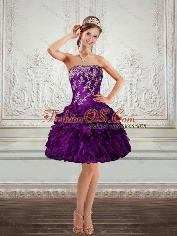 2015 Beautiful Purple Strapless Prom Dresses with Embroidery and Ruffles