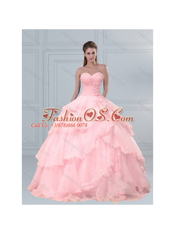 Popular Pink Sweetheart Beaded Quinceanera Dresses with Ruffled Layers
