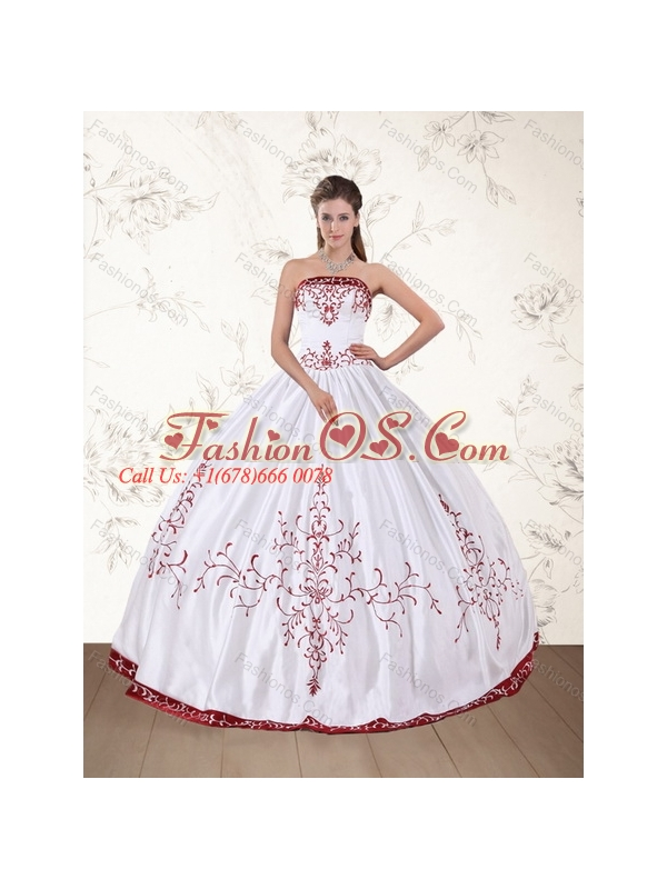 2015 Strapless Floor Length Quinceanera Dress in White and Red