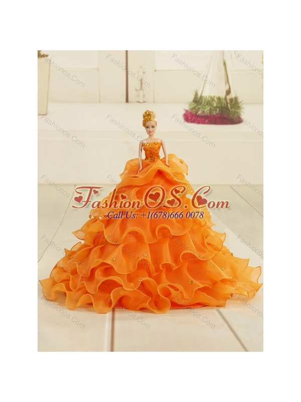 2015 Yellow Sweetheart Quinceanera Dress with Beading and Ruffled Layers