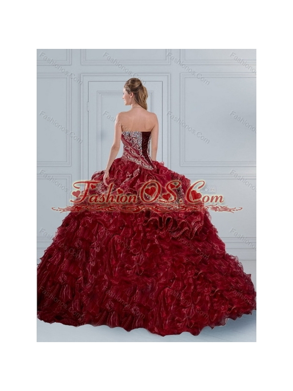 Burgundy Sweetheart 2015 Quinceanera Dresses with Embroidery and Ruffled Layers