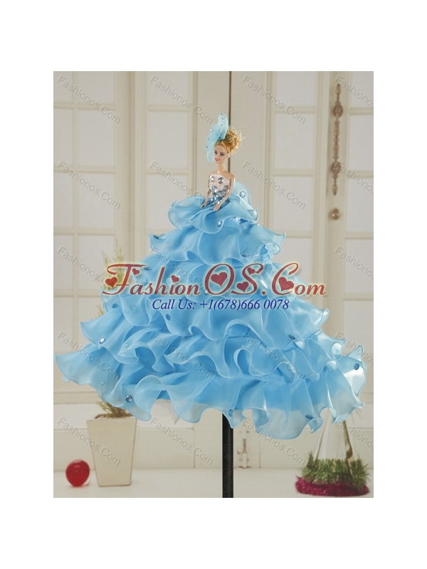 Gorgeous Baby Blue Strapless Quinceanera Dress with Beading