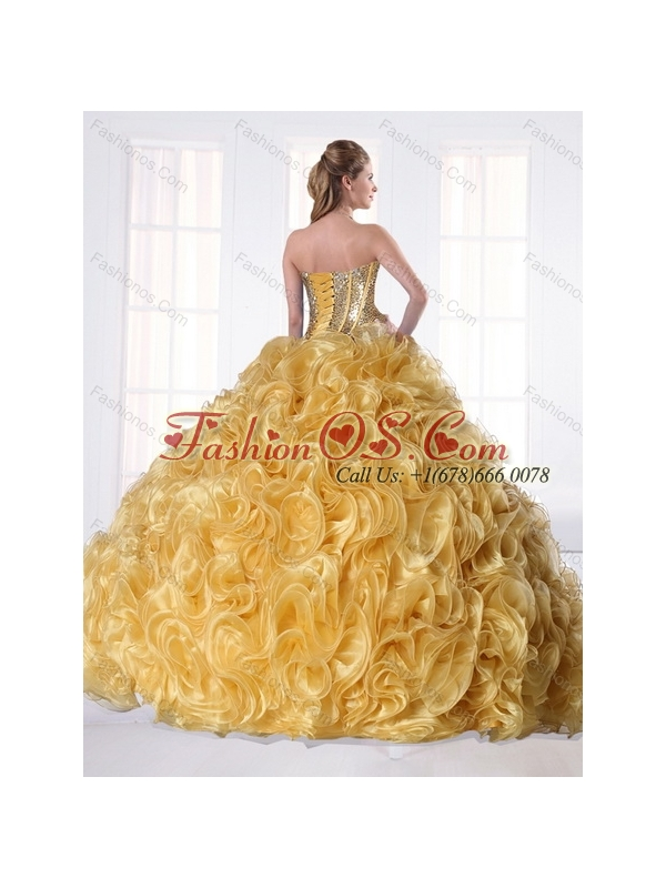 Unique Sweetheart Gold Quinceanera Dress with Beading and Rolling Flowers