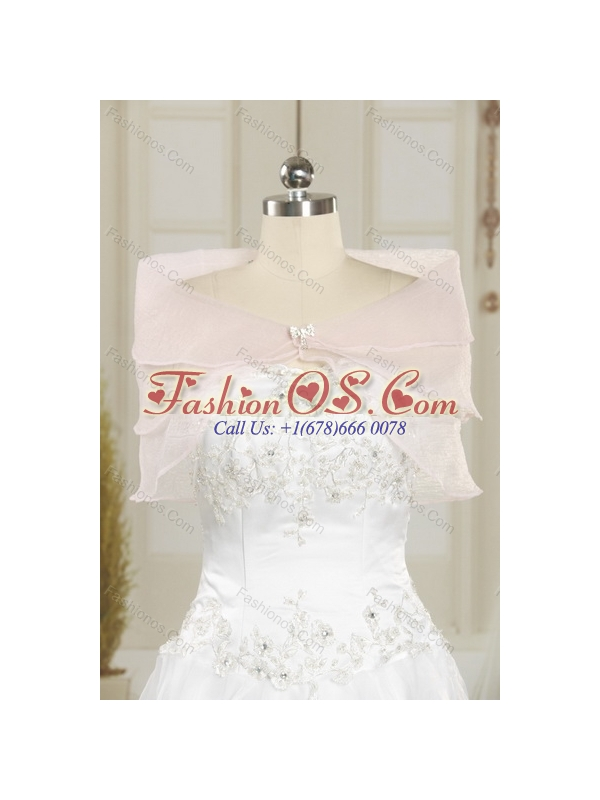 2015 Customer Made White Quince Dresses with Appliques and Ruffled Layers