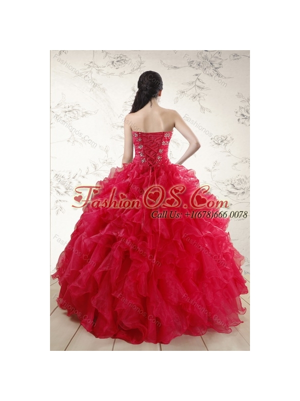 Classical Red 2015 Quince Dresses with Ruffles and Beading