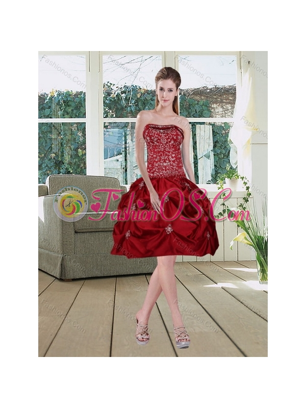Detachable Wine Red Strapless Quinceanera Gown with Embroidery