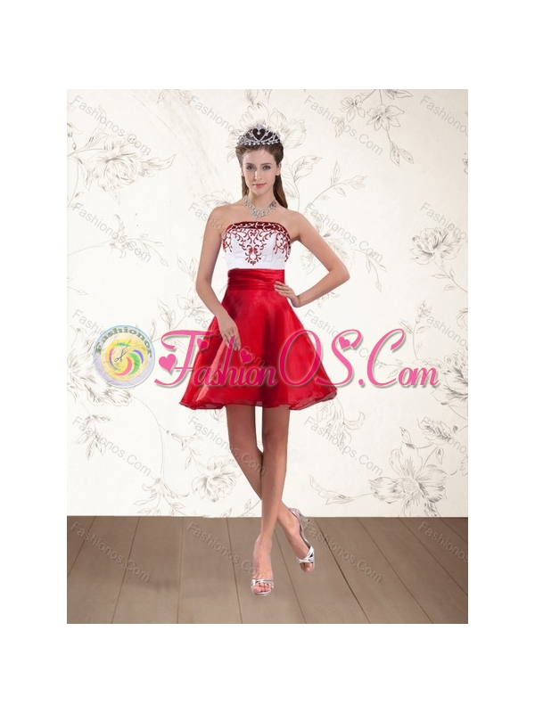 2015 Beautiful Strapless Quinceanera Dress with Embroidery