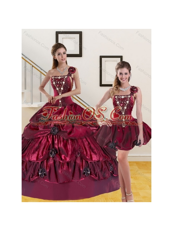 2015 Detachable Beading and Pick-ups Quinceanera Dress in Burgundy