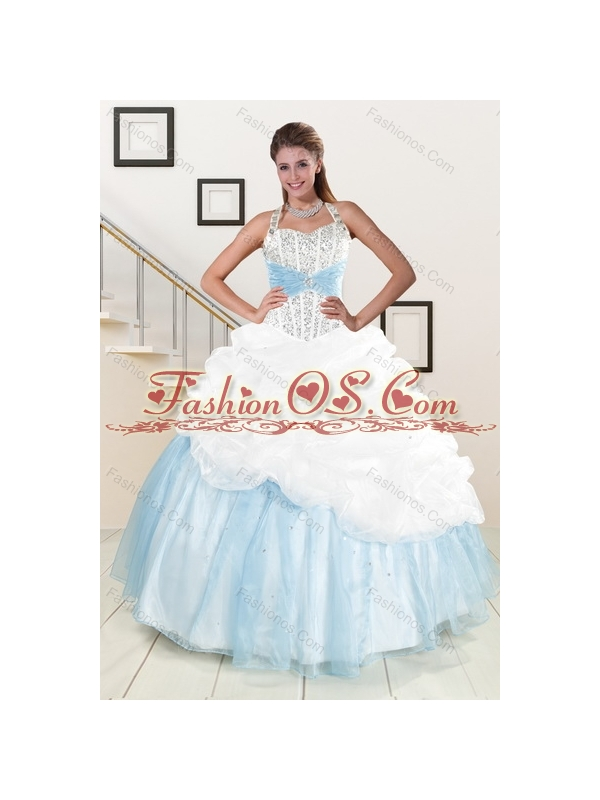 2015 Multi Color Halter Top Quince Dresses with Pick Ups and Beading