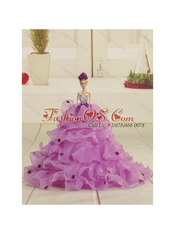 2015 Strapless Quinceanera Dress with Embroidery and Ruffles