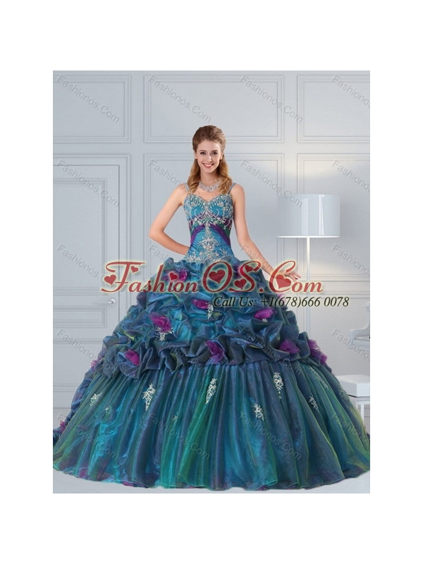 Cute Multi Color Quinceanera Gown with Hand Made Flower and Pick Ups