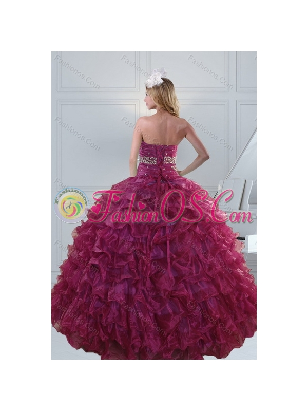 Exquisite Burgundy Sweet 15 Dresses with Beading and Ruffles