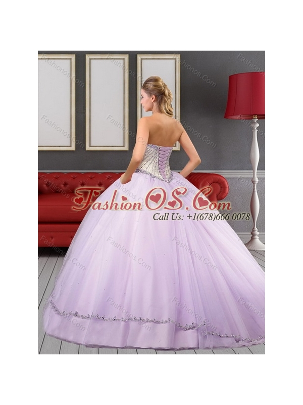2015 Wonderful Sweetheart Quinceanera Dress in White and Lilac with Beading and Appliques
