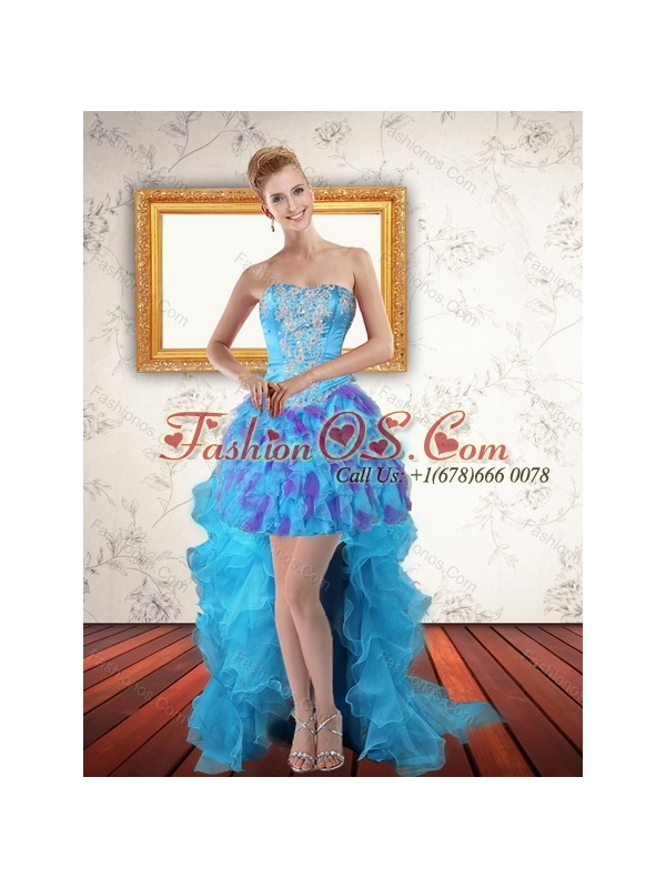 Multi Color Strapless Quinceanera Dress with Ruffles and Sash