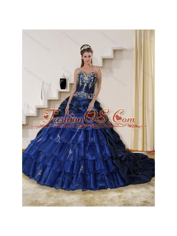 Navy Blue Sweetheart Quinceanera Dress with Embroidery and Ruffles