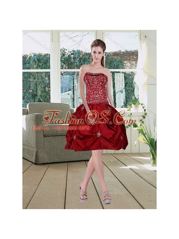 Pretty Wine Red Strapless Quinceanera Gown with Embroidery and Pick Ups