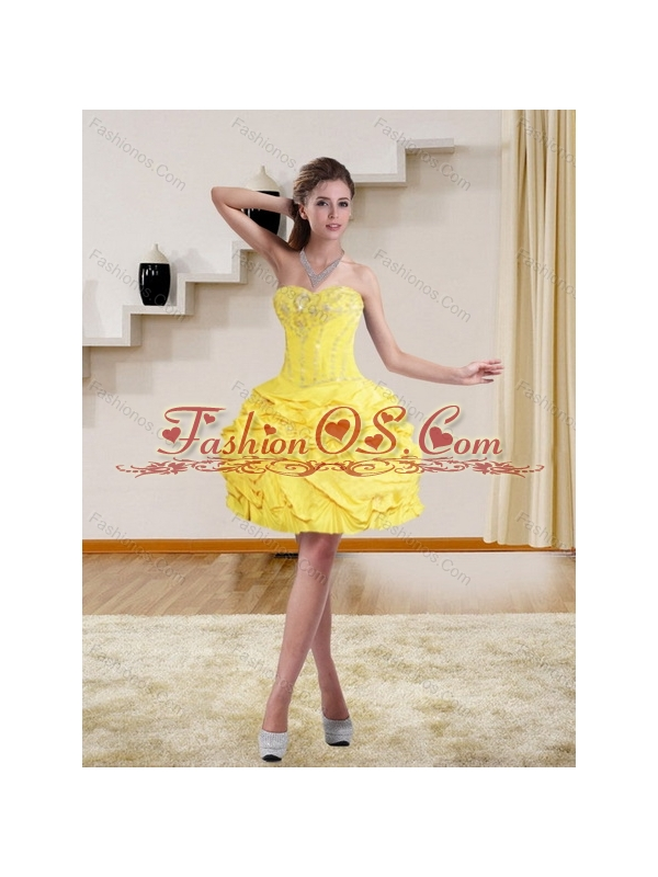 Sophisticated Yellow Strapless Brush Train Quinceanera Dresses with Beading