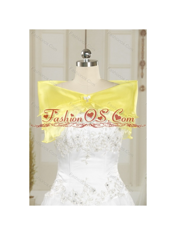Yellow Beaded and Ruffled Sweetheart Quinceanera Dress for 2015