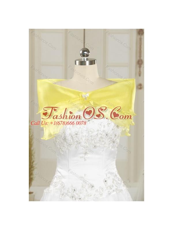 2015 Brand New Yellow Strapless Beading 2015 Quinceanera Dresses with Brush Train