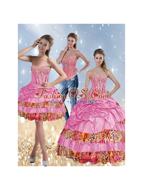 2015 Leopard Printed Sweetheart Quinceanera Dresses with Beading and Pick Ups