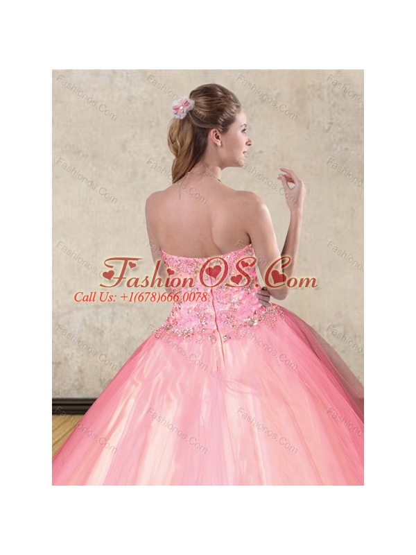 2015 The Super Hot Pink Quinceanera Dresses with Beading