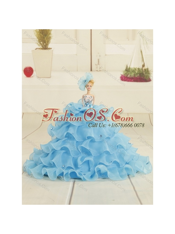 Detachable Teal and Brown Sweetheart Quinceanera Dress with Beading and Ruffled Layers for 2015