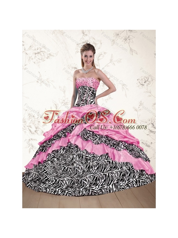 Pretty 2015 Pink Zebra Strapless Printed Quinceanera Dresses with Beading