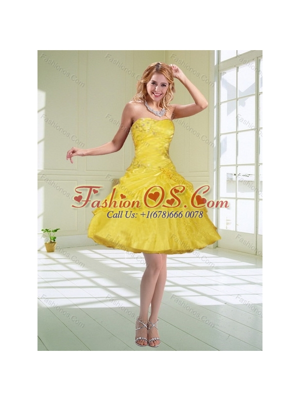 Wonderful 2015 Strapless Yellow Quinceanera Dresses with Beading