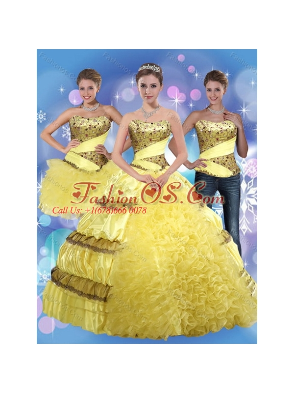 2015 Detachable Yellow Strapless Quinceanera Dress with Beading and Ruffles