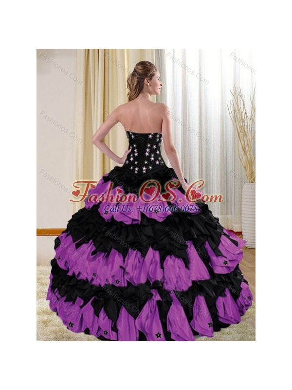 2015 Cute Strapless Multi Color Quinceanera Dresses with Appliques and Ruffles