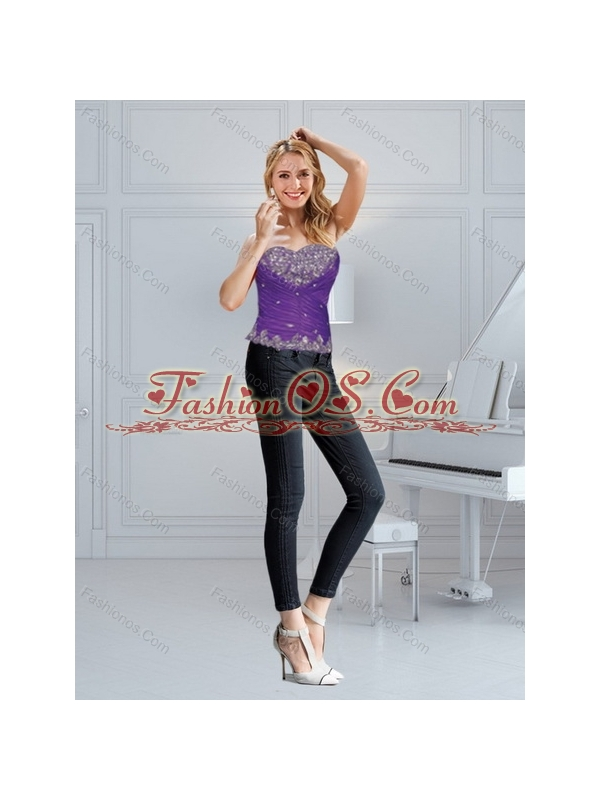 2015 Fashionable Eggplant Purple Quince Dresses with Beading and Ruffled Layers