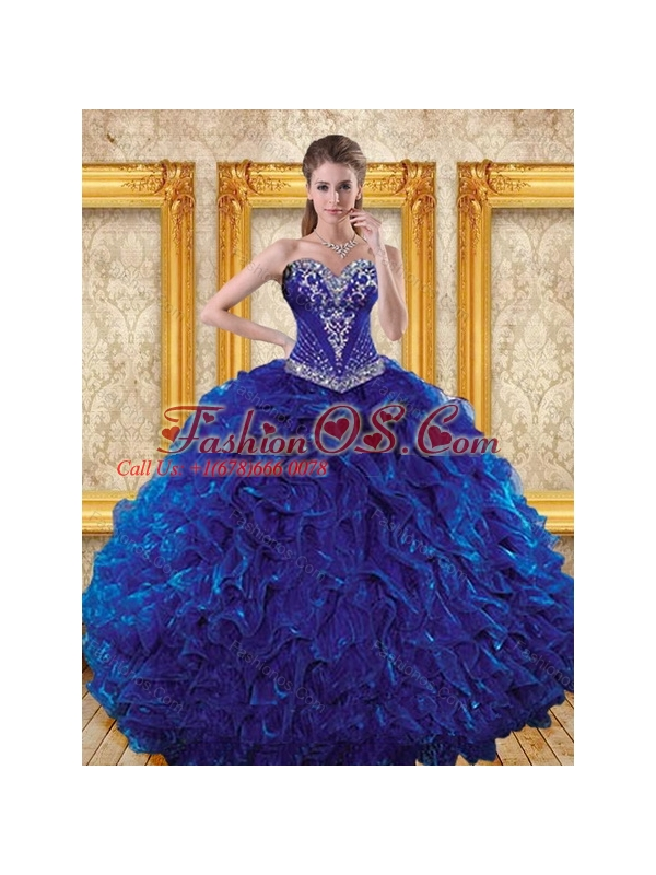2015 Elegant Royal Blue Quinceanera Dresses with Beading and ...