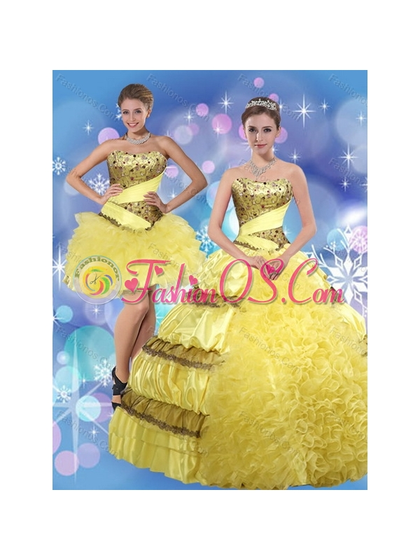 2015 Strapless Yellow Quinceanera Dress with Beading and Ruffles