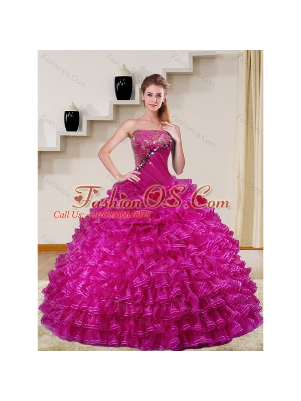 2015 Sophisticated Fuchsia Quince Dress with Beading and Ruffled Layers