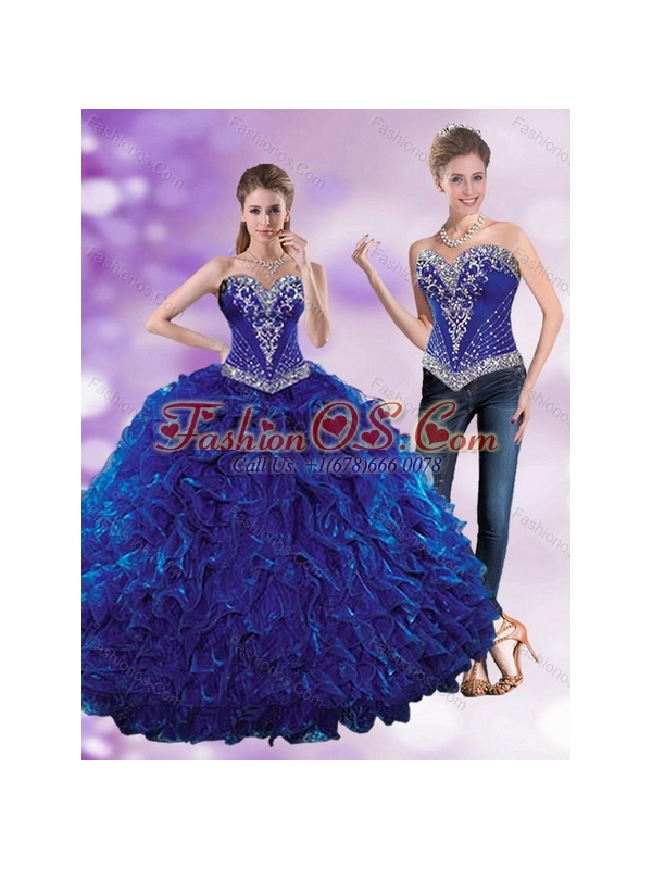 Royal Blue 2015 Elegant Quinceanera Dresses with Beading and Ruffles