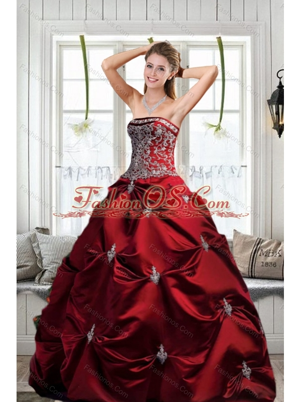 Modest Strapless Wine Red Princesita Dresses with Embroidery for 2015