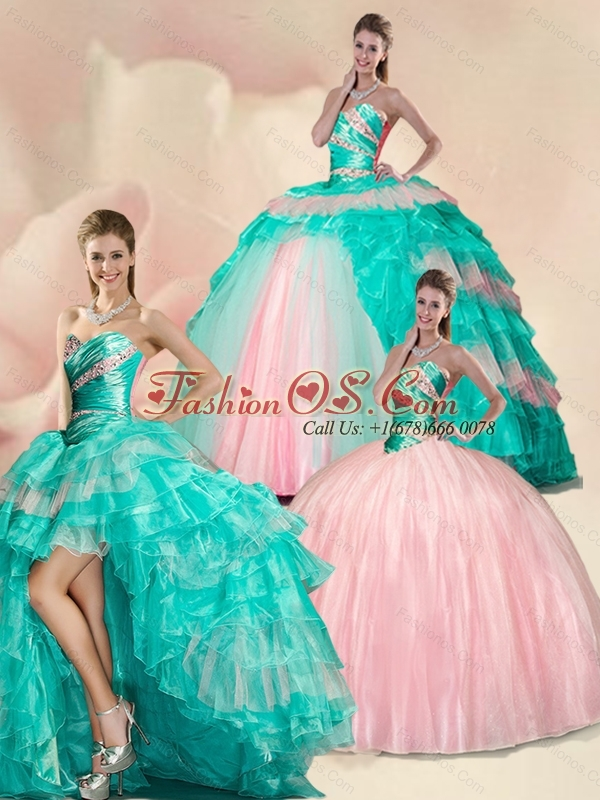 blue and green ruffle quinceanera dresses