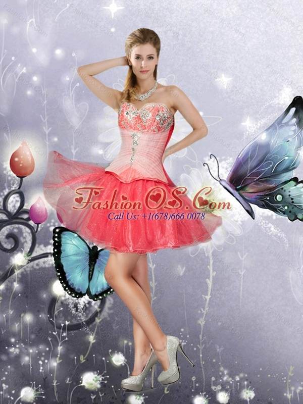 New Arrival Ball Gown Coral Red Sweetheart Quinceanera Dresses with Layers and Appliques