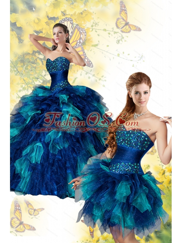 New Arrival Exqusite Mult Color Quinceanera Dress with Beading and Ruffles