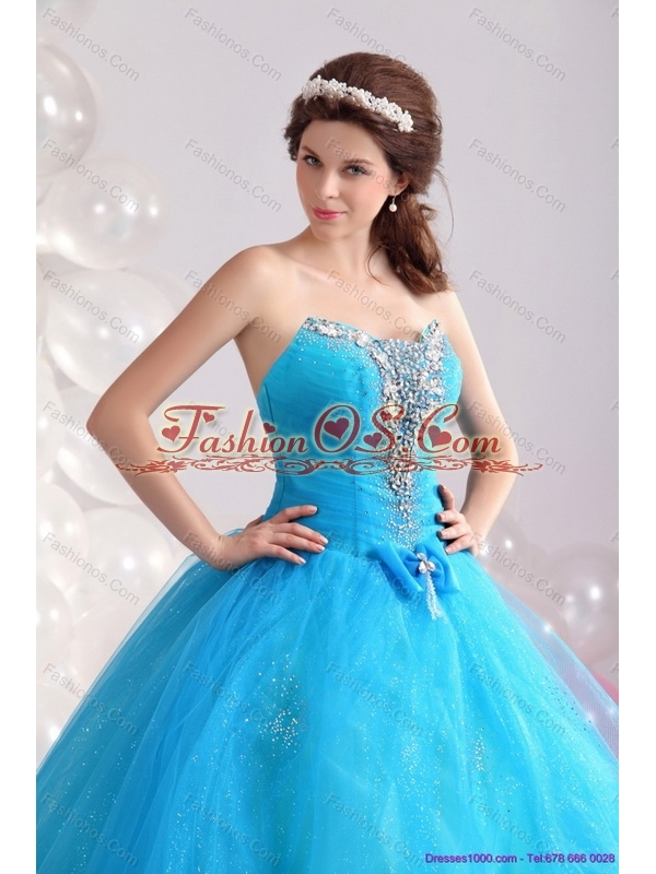 2015 New Arrival Blue Quinceanera Dresses with Rhinestones and Bowknot