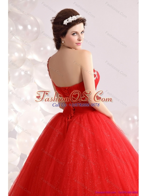 2015 New Arrival Red One Shoulder Sweet 15 Dresses with Rhinestones