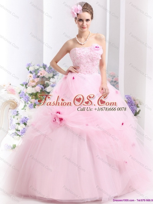 New Arrival Baby Pink Sweet Sixteen Dresses with Hand Made Flowers