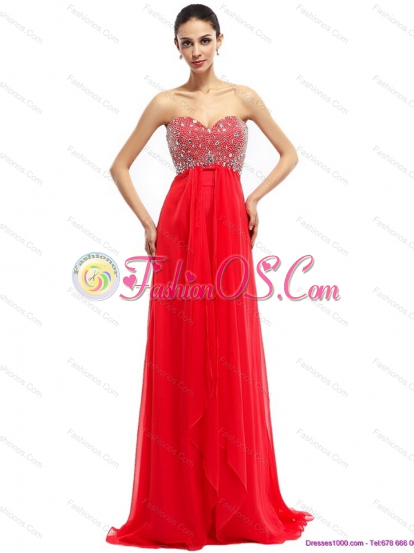 Beading Sweetheart Ruching Prom Dresses with Brush Train