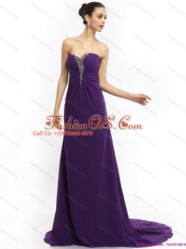 Elegant 2015 Brush Train Sweetheart Prom Dress with Ruching and Beading
