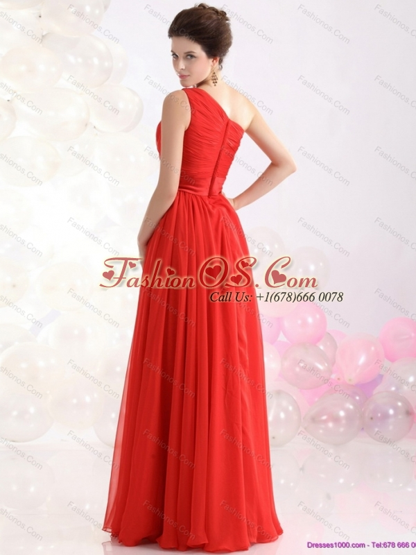 New Style Ruching Red One Shoulder Prom Dresses for 2015