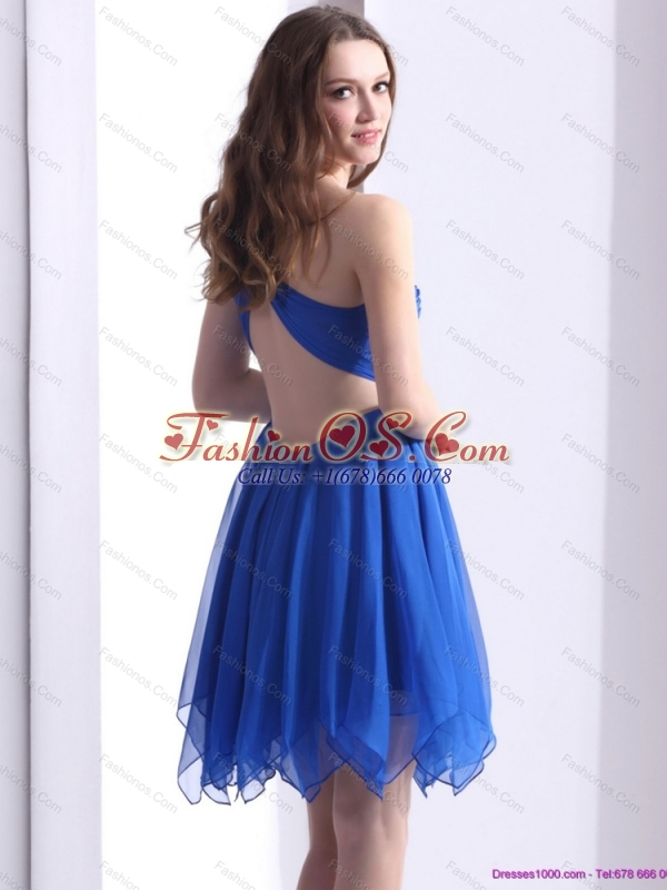 Perfect Blue One Shoulder Prom Dresses with Ruffles