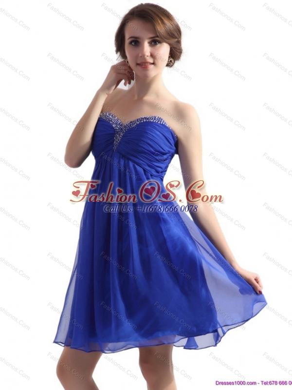 Sweetheart Ruffled Blue 2015 Prom Dresses with Beading
