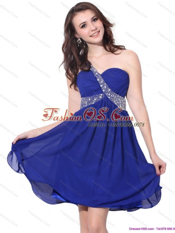 2015 Romantic One Shoulder Beading Prom Dress with Criss Cross